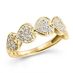 Bred hjerte guldring til kvinder i 14 karat med diamanter